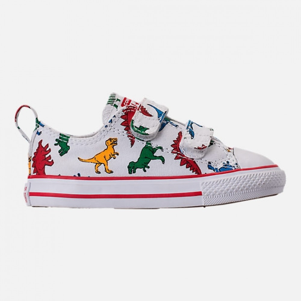 b77a0c0a6704 CONVERSE Chuck Taylor All Star Dinoverse 2v Infant Shoe - White Enamel  Red Totally Blue