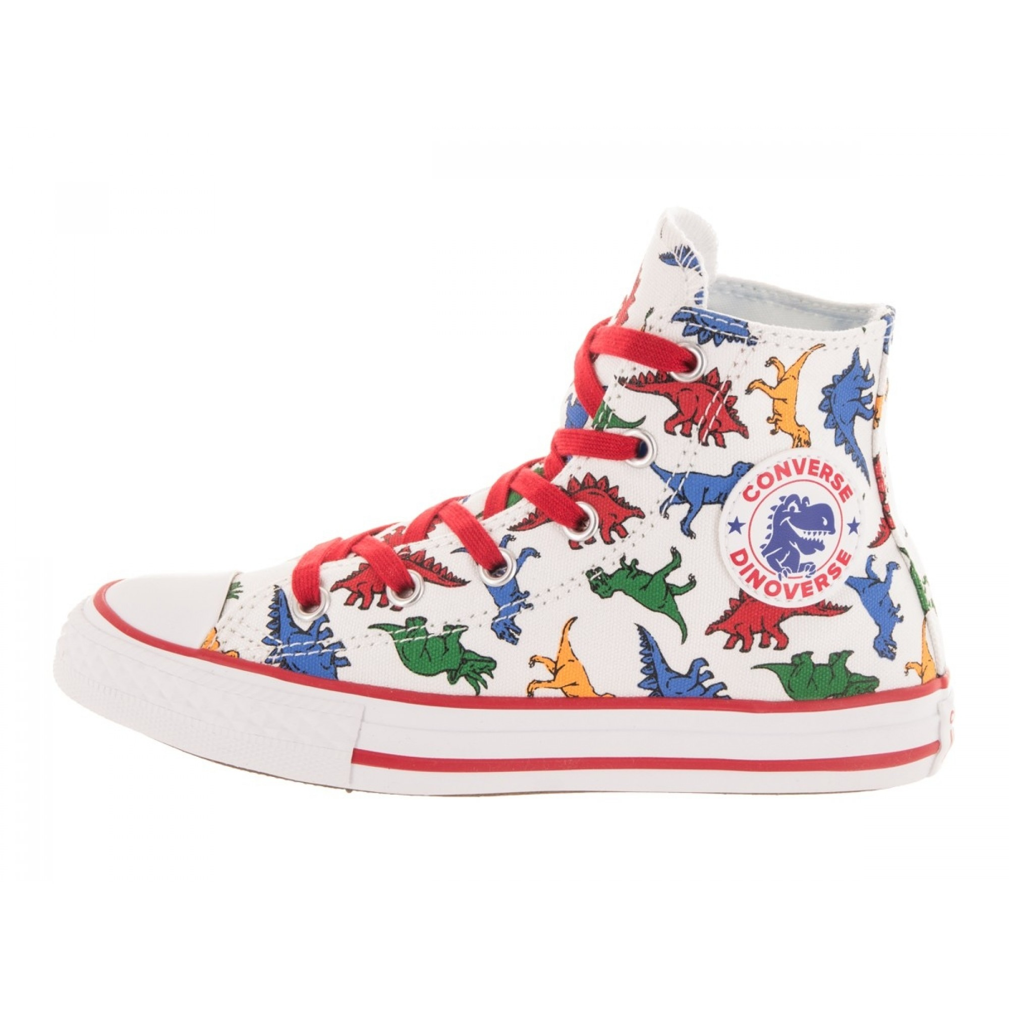 Venue Store CONVERSE Chuck Taylor All Star Dinoverse Youth Hi Shoe - White  Enamel Red Totally Blue Free Delivery Over  100 a3d8732135