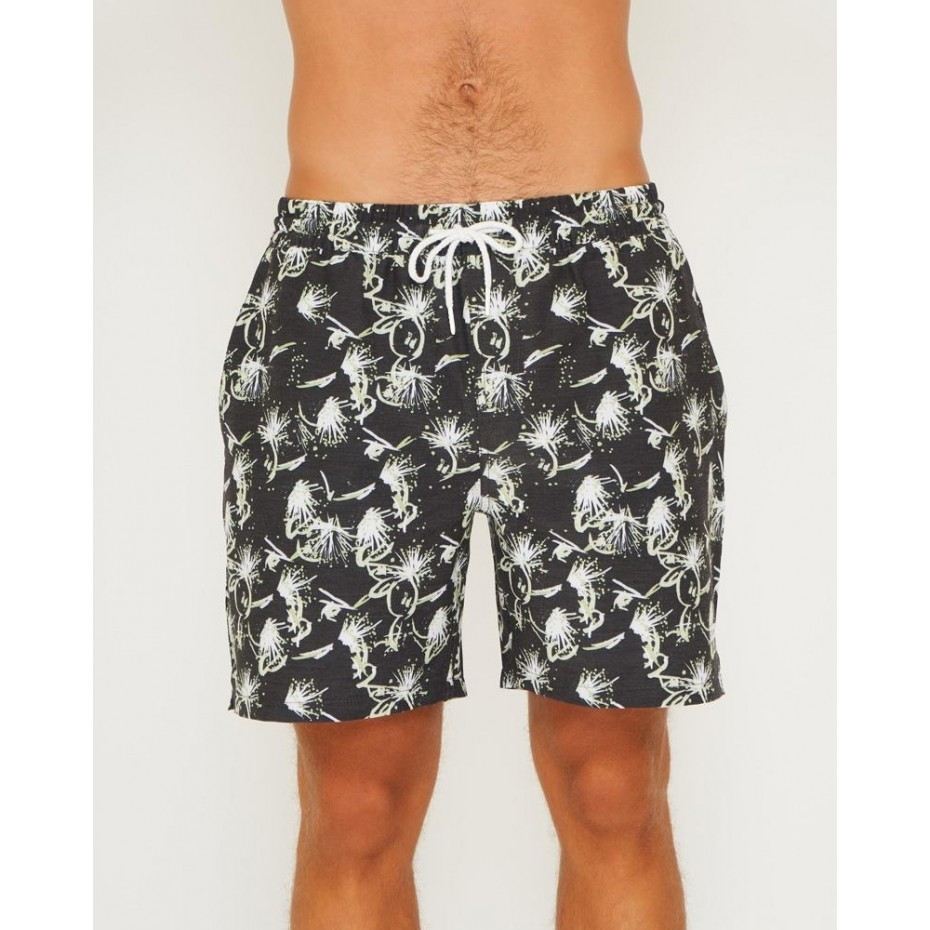 LSKD Bottle Rocket Mens Beach Shorts - Black
