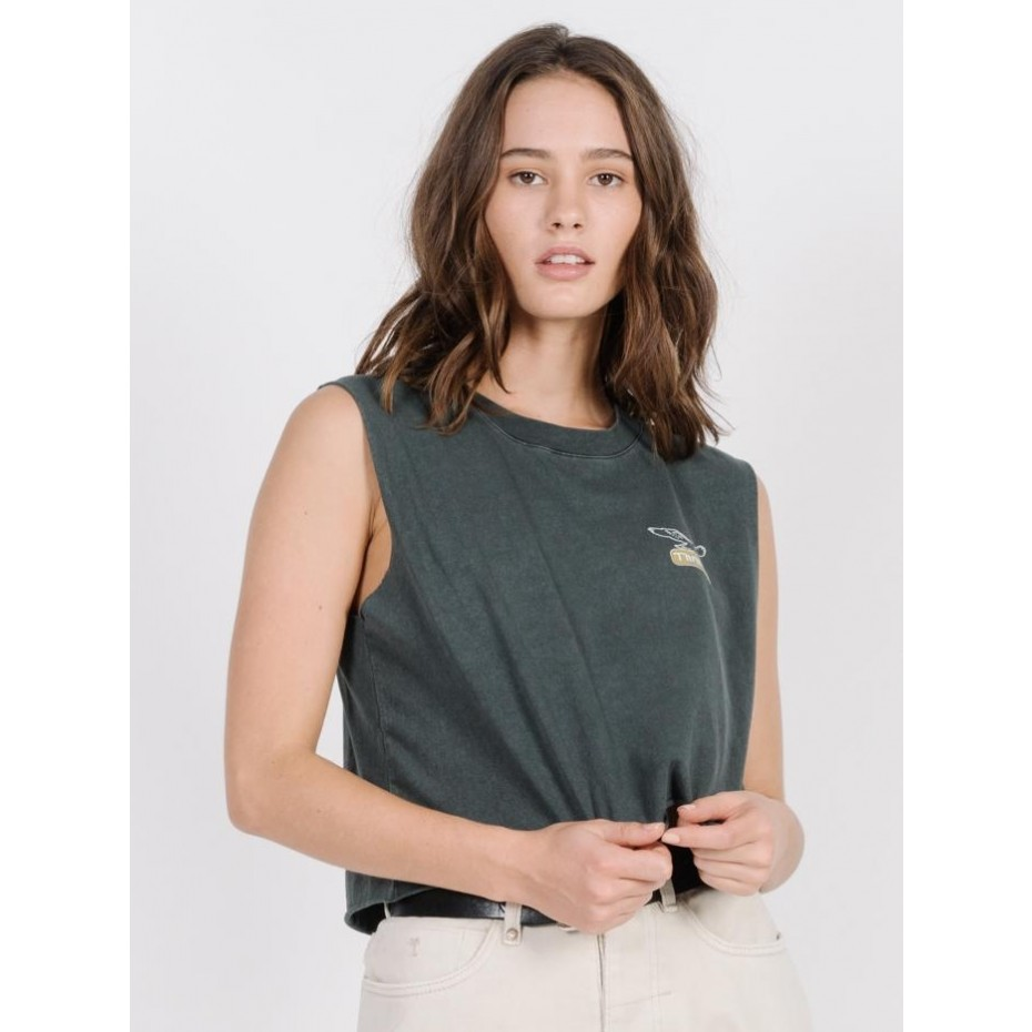 THRILLS Landed Womens Cropped Tank - Merch Black