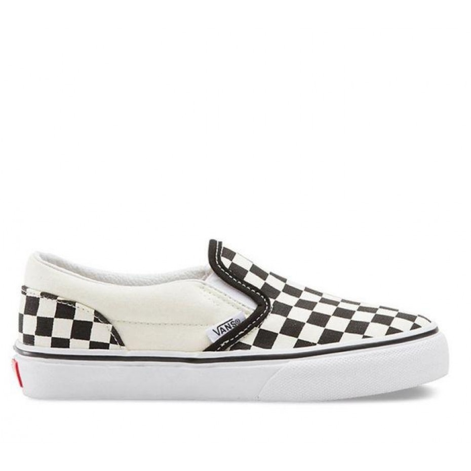 VANS Classic Slip On Checkerboard Youth Shoe - Black/White