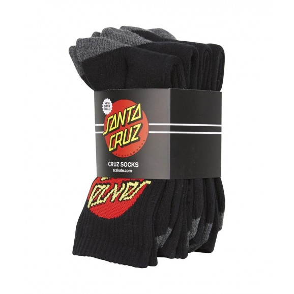 SANTA CRUZ Cruz Mens 4pk Socks - Black