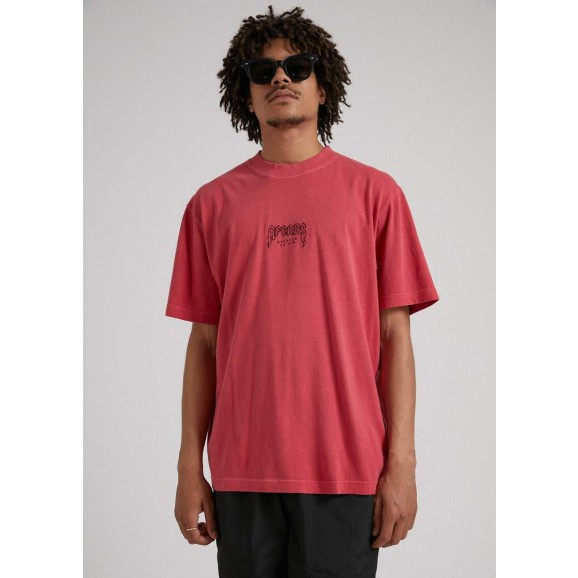 AFENDS Recycled Hemp Retro Fit Mens Tee - Cayenne