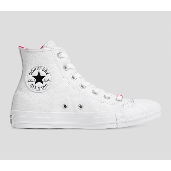 CONVERSE Chuck Taylor Surface Fusion Womens Leather Hi Shoe - White White Prime Pink