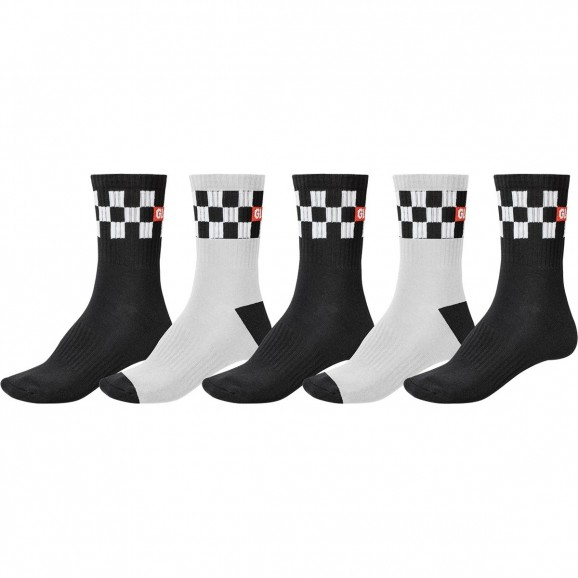 GLOBE Checker Crew 5pk Socks - Black/White