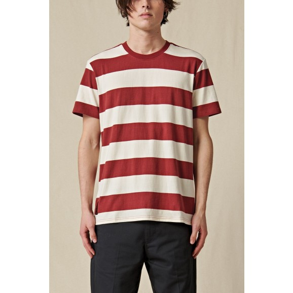 GLOBE Dion Agius Striped Mens Tee - Ox Blood