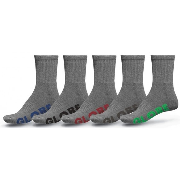 GLOBE Stealth Crew Mens 5pk Socks - Grey