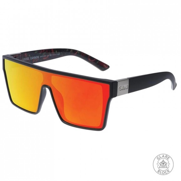 SIN Loose Cannon Polarised Sunglasses - Matt Black/Hot Tamale Print/Red Flash