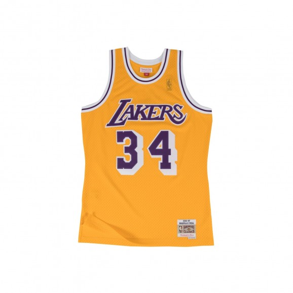 MITCHELL & NESS Los Angeles Lakers Shaq 34 Home NBA Swingman Mens Jersey - Yellow