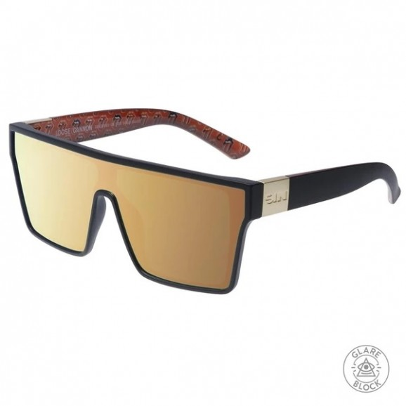 SIN Loose Cannon Polarised Sunglasses - Matt Black/All Mouth Print/Gold Flash