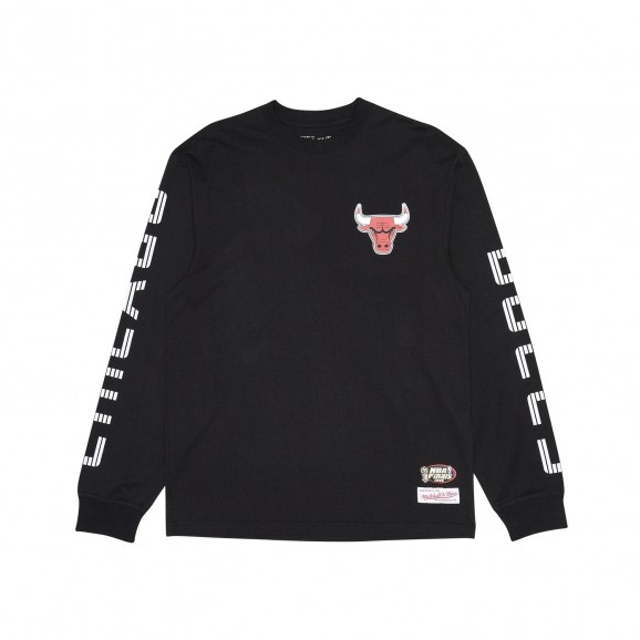 MITCHELL & NESS Chicago Bulls Outline Team Logo Mens L/S Tee - Black