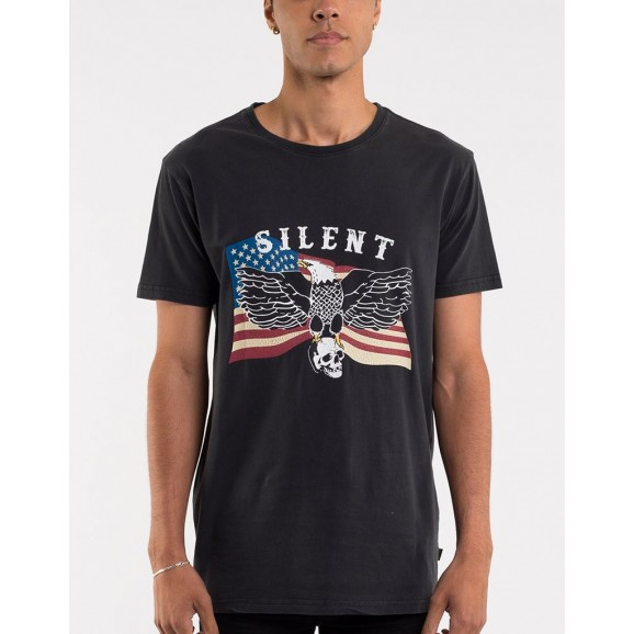 SILENT THEORY Eagle Mens Tee - Washed Black