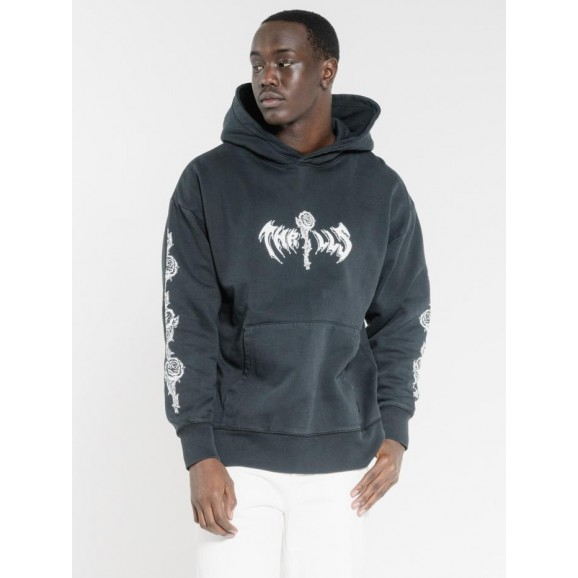 THRILLS Hard Fast Loud Slouch Pull On Mens Hoodie - Washed Black